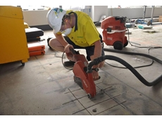 Foreman Tim Newbold uses one of Kennard's dry-cut saws