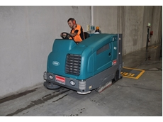 Matt Betts of SW Thompson operates the Kennards Concrete Care sweeper-scrubber