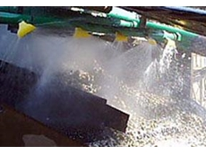 K-Spray Nozzles produce a fan shaped curtain of water, ensuring high screening efficiency