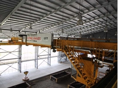 Commonwealth Steel Indonesia's 15t Konecranes SMARTON 'crane with a brain' with magnetic lifter, used for lifting steel balls
