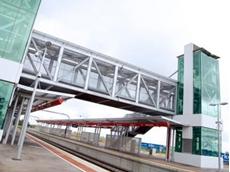 Galvanised steel is used in the fabrication of this railway bridge