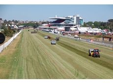 The Kubota Tractor Australia L40 series tractor with turf renovation equipment used on Flemington race track