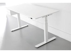 Height adjustable office table with rectangular profiles and without a crossbar