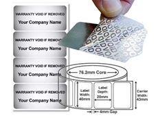 Label Power's silver void tamper evident labels