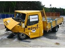 Leda-Vannaclip impact test 150NB fixed bollards at the UK's Transport Research Laboratory in May 2008