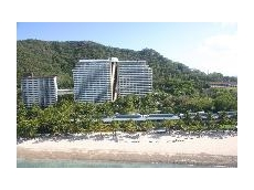 Architectural roof construction at the Hamilton Island Resort