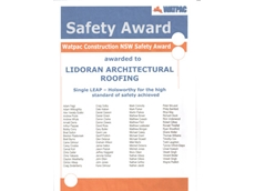 Watpac Construction NSW Safety Award for Lidoran Architectural Roofing