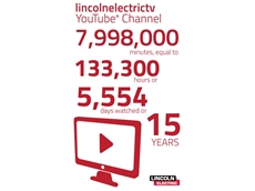 Lincoln Electric's YouTube channel has notched up more than 11,500 subscribers, hosted 450 videos, and attracted more than 4.5 million views and 133,300+ hours of viewing time