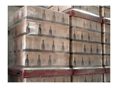 Stacked wine boxes on Loscam pallets