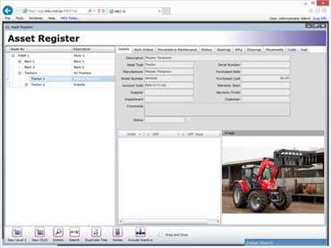 The Asset Register of the MEX Maintenance Software showing the asset details of a tractor