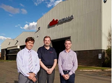 MHE-Demag Australia's Management Team, from left: Vince Di Costanzo, Klaus Schilling and Rowland Hudd