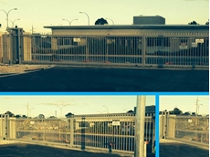 Magnetic's bi-parting gates enable buses to easily swing into the yard from a tight access road