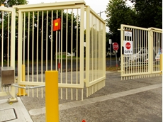 The bi-folding gates were able to accommodate the 35-metre wide opening