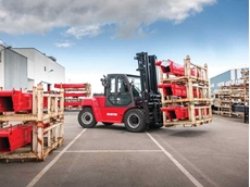 Manitou's new industrial forklifts feature an improved design that allows the operator to access the cab easily