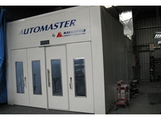 Automaster Seetal V90 combination car spray booth and low bake oven features concertina vehicle access doors