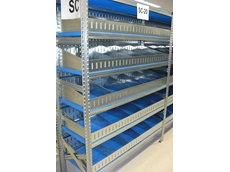 The perforated plastic shelf dividers used in St John of God's longspan shelving are ideal for sterile environments
