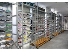 The patented Super 1-2-3 boltless shelving system offers an attractive shelved display for footwear and other light objects