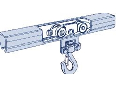 Low friction tracks and fittings for crane