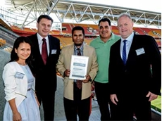 (L-R) NOJA Power Directors Quynh Anh Le and Oleg Samarski; QHSE Manager Dr. Rabiul Alam; rugby league Coach and Safety Ambassador Mal Meninga; and Managing Director Neil O'Sullivan