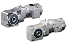 NORD's hygienic helical bevel gear units are available in open or closed frame versions – (right) combined with a smooth-surface motor