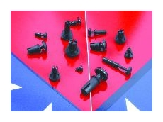 Two-piece moulded fastener comes assembled and ready for use.