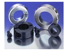 Shaft collars in aluminium, black oxide carbon steel and stainless steel.
