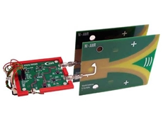The entire radar RF core of the redesigned system, consisting of a 3x3 card, Vivaldi antennas, and power supply