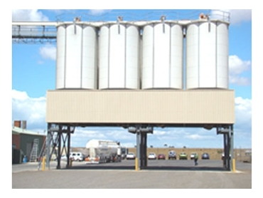 Riverbank Stockfeeds Industrial Silos including support structure and access walkways