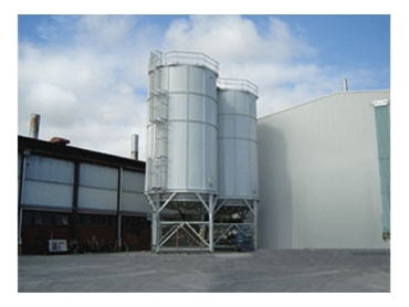 CSR Stucco Silos with load cells and aeration base
