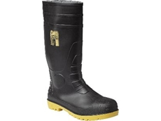 Yellow PVC/Nitrile rubber sole and black upper.