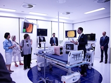 Visitors in the fully equipped endoscopy room of the Olympus Customer Experience Centre in Melbourne