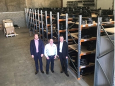 Dan Farrell, Thomas Tegethoff and Matthew Robinson at the new Optibelt Brisbane warehouse