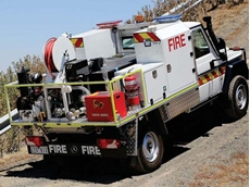 One of the two concept fire fighting vehicles featuring the CTD foam dosing system