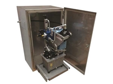 Stone brake units can be supplied with a secure stainless steel cabinet and slide out tray for easy servicing