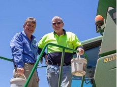 Pacific Seeds' Steve Lamb with Mingenew grower Paul Kelly