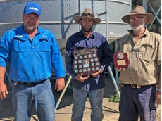 Competition judge and CQ Commodities manager Craig Wade recently presented the shield to Brian Gregg and son Nigel.