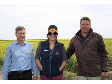 Dr Chris Preston, SFS communications and events manager Sheshi Rogers-Tritton and canola business manager Justin Kudnig