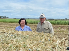 Forage business manager Maree Crawford with Wyreema grower Warren Folker, who bales forage sorghum at his property 'Kilowen'
