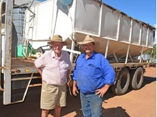 Victoria Hill farmers Ted Shooter (right) and his father Ray are among the first to test 'igrowth' sorghum.