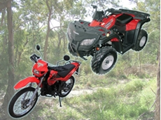 The RT250ST ATV (right) and RT200GY dirt bike