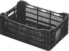 Stackable vented plastic crates