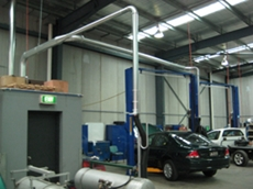 Vehicle exhaust system as installed at Orbital Autogas Systems