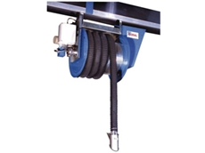 Hose reels for extraction vehicle exhaust