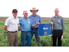 At the Narrabri Plant Breeding Institute for the launch of Maki: Adrian Russell of Plant Research New Zealand, Steve At the Narrabri Plant Breeding Institute for the launch of Maki: Adrian Russell of Plant Research New Zealand, Steve Moore of the Uni