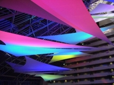 ProDesign Lighting usedsails and a mixture of colour-changing luminaires to create this lighting design at the Burswood Entertainment Complex