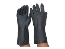 Black neoprene chemical resistant gloves