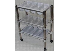 Mobile 3 tier stainless steel cutlery trolley