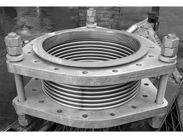 Tied Galvanised Steel Expansion Joint prepped for testing