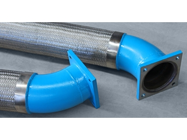 Large Braided Flexible Hose with Elbowed Square Fixed Flanges