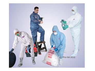 Hazguard Coveralls protect from hazardous dust, particles, spays & splashes